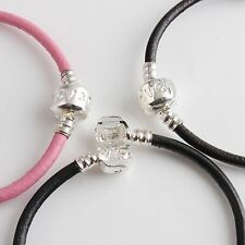 3pcs Mixed Real Leather Bracelet Fit European Charm Beads 17-19cm Free Ship
