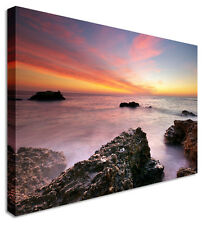 Old Rocks Sunset Seascape Canvas Picture - Large+ Any Size