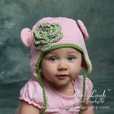 Melondipity Girl Pink Green Crochet Baby Beanie Hat Knit Animal Organic Braids
