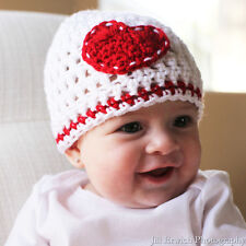 White Beanie Baby Hat with Red Heart
