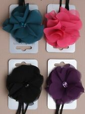 Elastic stretch bandeaux Hair Head Band With Fabric Flower With Crystal Centre