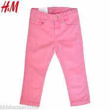 H&M Girl Cotton Linen Pink Skinny Cut Pants Size 6-7Y/9-10Y