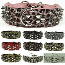 Pink Leopard Leather Spiked Studded Dog Collars Pit Bull Terrier Bully Mastiff