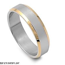 6MM Brushed Satin Finish Top with Gold Tone Silver Stainless Steel Ring 6-14