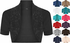 New Ladies Plus Size Beaded Shrug Womens Short Sleeve Bolero Cardigan Top 16- 26