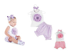 (3-27M) Baby Girl 2 Pcs Daisy Flower Set with Vest & Polka Dot Shorts 4 party