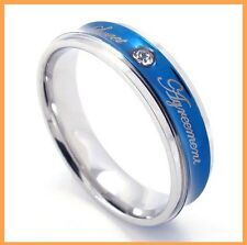 Stainless Steel Blue Agreement Mens Ring Size 7-11