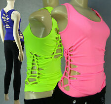 Sexy Neon Colors Seamless Casual Tank Top Braids Sides and Back One Size Top