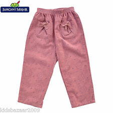French SeRGeNT MaJoR Girls Pink Print Corduroy Pants Size 2 3 4