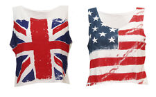 M69 NEW WOMENS STAR AND STRIPE AMERICAN FLAG CROPPED TOP LADIES UNION JACK VEST.