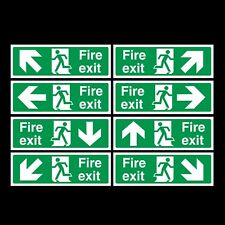 FIRE EXIT PLASTIC RIGID SIGN 300x100mm Self adhesive backing for walls!!