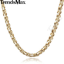 5mm Mens Boys Chain Gold Tone Byzantine Box Stainless Steel Necklace 18-36inch