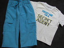 NWT Gymboree Spy Guys Set 3 6 12 18 24 m Blue Active Pants Gray Secret Agent Top