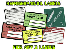 Refrigerant / Equipment / Oil Label - HVAC / Refrigeration , Pack of (10) Labels