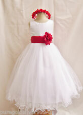 WHITE RED BRIDAL PARTY PAGEANT DAVIDS FLOWER GIRL DRESS 18M 24M 2 4 6 8 10 12 14