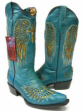 WOMEN'S LADIES TURQUOISE LEATHER WESTERN COWBOY BOOTS WITH WINGS & CROSS