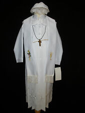 INFANT BOY & TODDLER CHRISTENING BAPTISM 4 pc FORMAL WHITE GOWN  SUIT 0M -30M