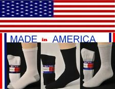 12 Pairs Men's Big & Tall Cotton Crew Socks Size 13-15 Shoe Size 12-14 USA Made