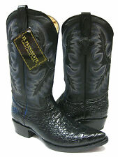 MEN'S BLACK LEATHER BELLY CROCODILE ALLIGATOR COWBOY BOOTS FOR WESTERN RODEO