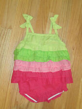 Toddler girl Gymboree Hot Pink Lime green RUFFLES shorts outfit NWT 12m 18m 24m
