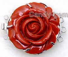 SALE Big 30mm Red rose shape Coral Three strands Flower Clasp-gp05 Free shipping