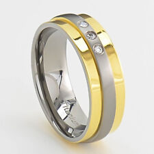7mm Titanium Ring Clear Round Silver & Gold Band Cubic Zirconia Cz