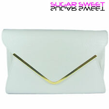 Large White Leather Style Snakeskin Clutch Bag Evening Bag Snake Skin Handbag