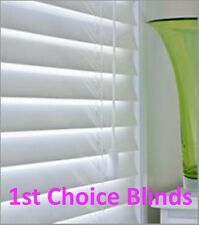 MADE TO MEASURE WOODEN VENETIAN BLIND  PURE WHITE REAL WOOD 50MM SLATS