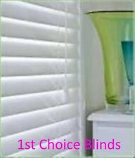 MADE TO MEASURE WOODEN VENETIAN  BLIND PURE WHITE REAL WOOD 35MM SLATS