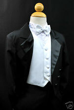 Baby,Toddler & Boy Formal WeddingTail Tuxedo Suit Black white vest sz:  S M L-20