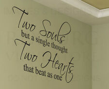Wall Decal Sticker Quote Vinyl Art Large Graphic Our Hearts Beat as One Love L38
