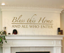 Wall Sticker Decal Quote Vinyl Lettering Bless This Home and All Who Enter E04