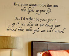 Wall Decal Quote Vinyl Sticker Art Lettering I'd Rather be Your Moon Love L53