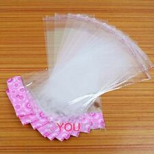 Hot 100pcs Pink Flower Clear Seal Self Adhesive Plastic Packing Bags
