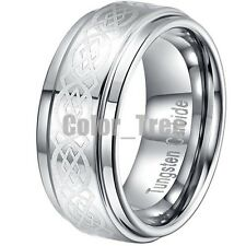 SZ 8-14 Silver Tungsten Celtic Mens Promise Wedding Band Ring Polished Lase GIFT