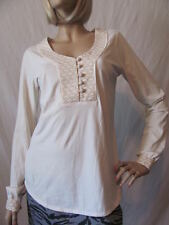 New LUCKY BRAND Womens Ivory L/S Embroidered Button Tunic Shirt Knit Top $59