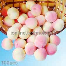 100pcs fake Pink Mini peach Plastic artificial fruit House Party kitchen decor