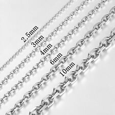 2.5-10mm Mens Boy Chain Rolo Link Silver Tone Stainless Steel Necklace 18-36inch