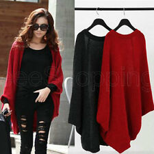 Women's Batwing Top Poncho Knit Cape Cardigan Long Sleeve Coat Knitwear Sweater