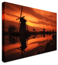 Windmill Valley Orange Canvas Prints Wall Art Picture Large Any Size