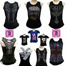 D'ROCKABILLY PUNK ROCK BABY Strass Tank Tops+ Designer Logo T-Shirt S/M/L/XL/XXL