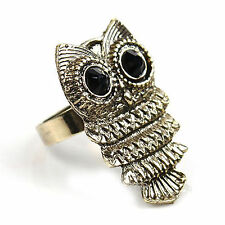 1pcs Antique Silver Bronze Retro Cute Owl Charm Ring Adjustable Free Shipping