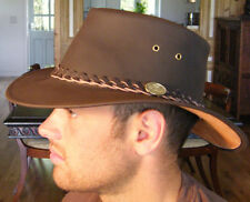 NEW Original Classic Australian Genuine Leather Bute Bush Hat Brown S M L XL