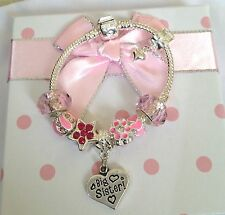 Personalised Girls big sister niece CHOOSE message charm bracelet in Gift Box