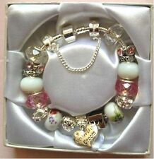 Personalised Girls mum  sister niece CHOOSE message charm bracelet in Gift Box