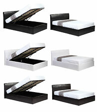 BLACK BROWN WHITE LEATHER BED SINGLE DOUBLE KING OTTOMAN STORAGE MATTRESS OPTS