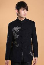 CF black Chinese style Embroider thicking men's jacket/coat SZ:M-L-XL-XXL-3XL