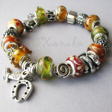 Into The West European Charm Bracelet - Brown Green Amber Beads - Western Charms