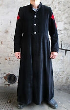 Black Velvet Vampire Gothic Long Jacket Trench Coat Theatrical Quality Red Cross