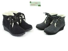 PUPE-10K New Youth Kids Lace Up Girls 1' 3/4 High Heel Black / Grey Boots Shoes